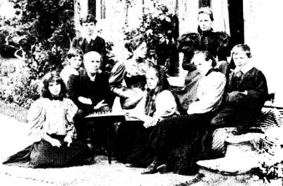 the family seated outside the Old Vicarage