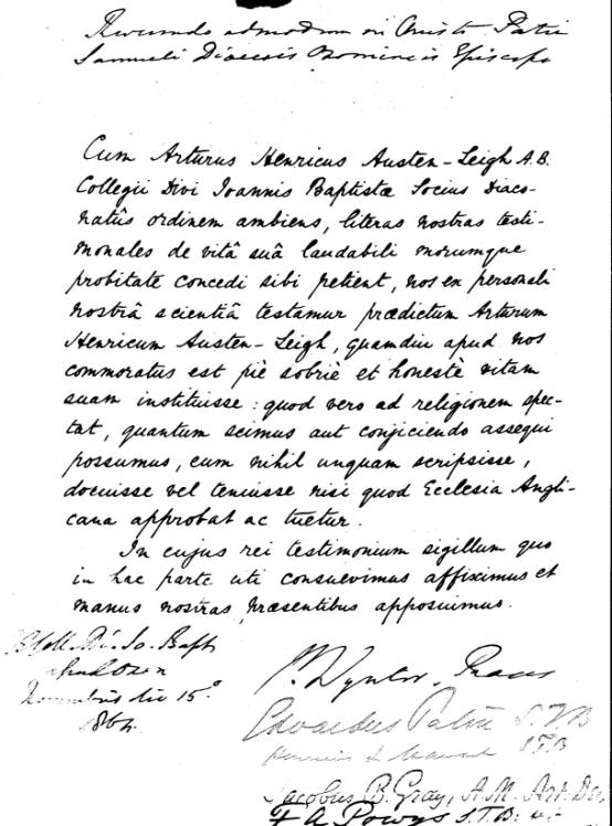 testimonial written in Latin