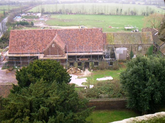 barn under repair viewed from church tower