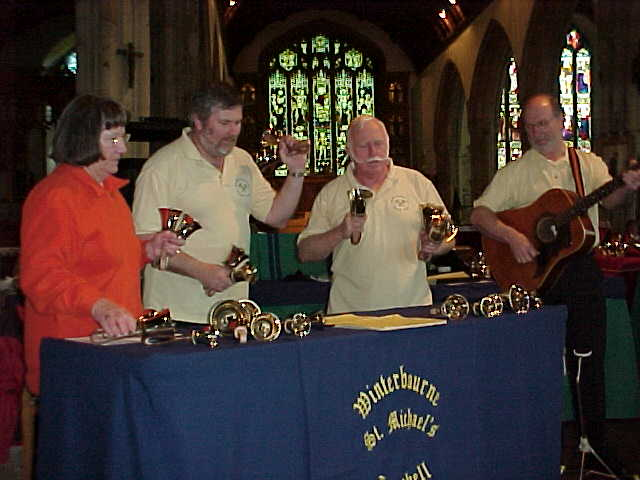 Handbell ringers at Bodmin Church