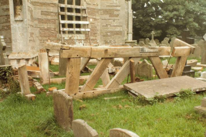 old oak frames awaiting disposal