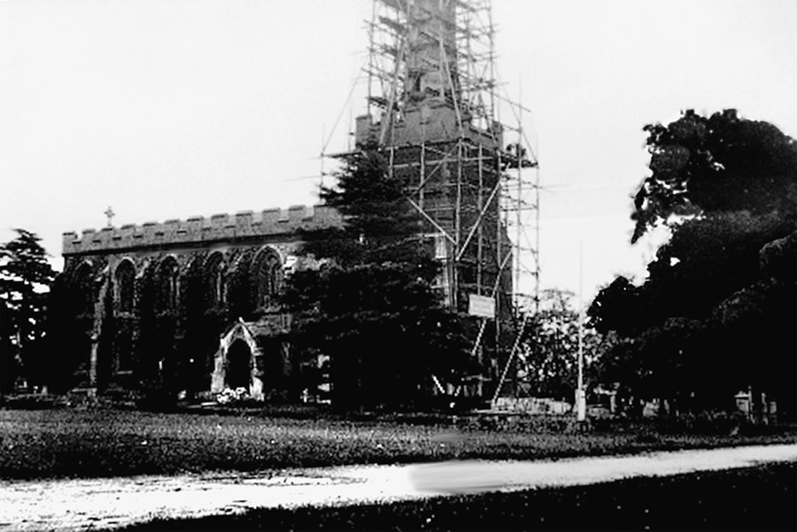 the church undergoing repair work