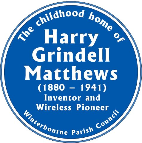 Blue plaque commemorating the childhood home (The Grove, Winterbourne High Street) of Harry Grindell Matthews