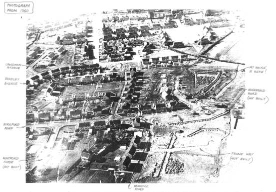 1960 aerial photograph of the Crossman Avenue area under construction (source unknown).